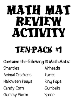 Math Mat Review Activity:  ASSORTED TEN PACK #1