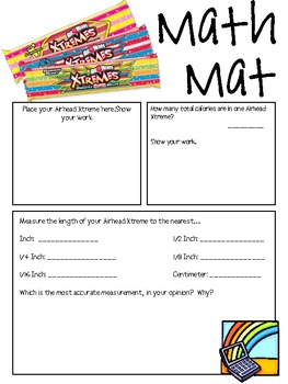 Math Mat Review Activity:  Airhead Xtremes