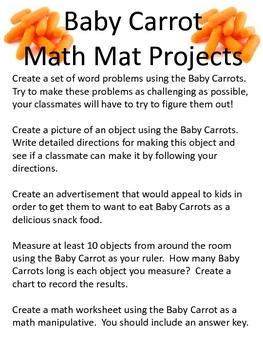 Math Mat Review Activity:  Baby Carrots