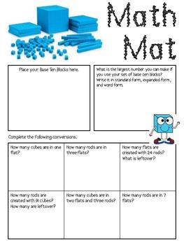 Math Mat Review Activity:  Base Ten Blocks