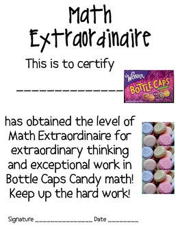 Math Mat Review Activity:  Bottle Caps Candy