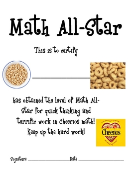 Math Mat Review Activity:  Cheerios Cereal