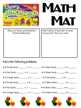 Math Mat Review Activity:  Chewy Lemonhead and Friends Candy