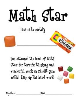 Math Mat Review Activity:  Chiclets Gum