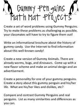 Math Mat Review Activity:  Colored Gummy Penguins