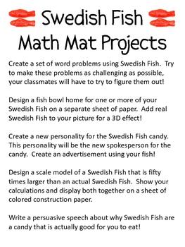 Math Mat Review Activity:  Colored Swedish Fish