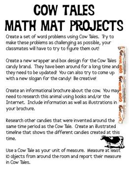 Math Mat Review Activity:  Cow Tales