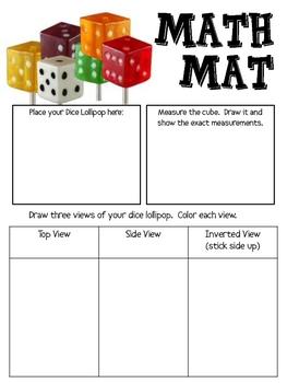 Math Mat Review Activity:  Dice Lollipop