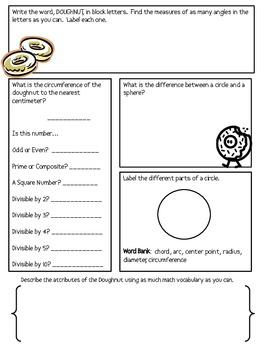 Math Mat Review Activity:  Doughnuts
