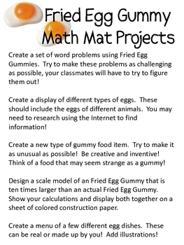 Math Mat Review Activity:  Fried Egg Gummy
