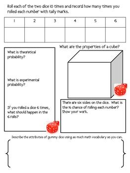Math Mat Review Activity:  Gummy Dice