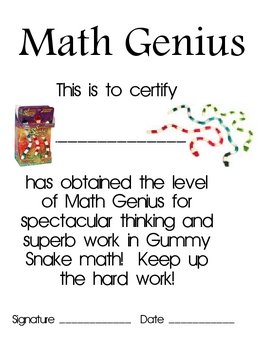 Math Mat Review Activity:  Gummy Snakes