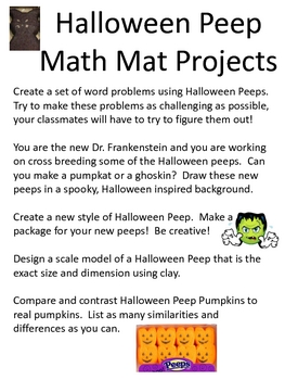 Math Mat Review Activity:  Halloween Peeps