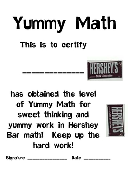 Math Mat Review Activity:  Hershey Bar--Snack Size