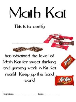 Math Mat Review Activity:  Kit Kat Candy Bars