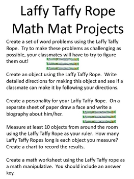 Math Mat Review Activity:  Laffy Taffy Rope Candy