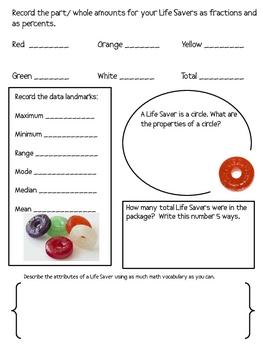 Math Mat Review Activity:  Life Savers Candy