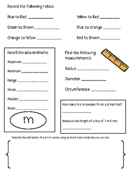 Math Mat Review Activity:  Plain m & m Candy