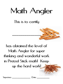 Math Mat Review Activity:  Pretzel Sticks