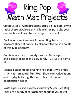 Math Mat Review Activity:  Ring Pops