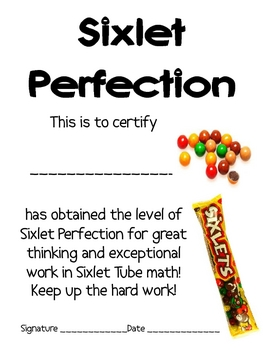 Math Mat Review Activity:  Sixlet Candy Tubes