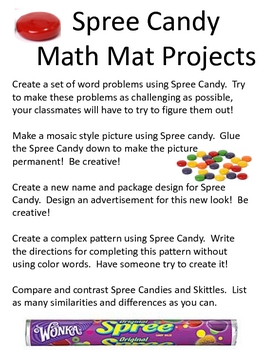 Math Mat Review Activity:  Spree Candy