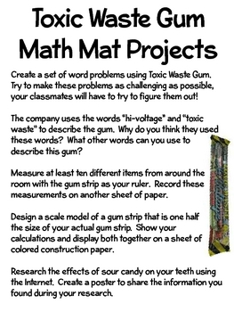 Math Mat Review Activity:  Toxic Waste Gum