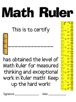 Math Mat Review Activity:  the Ruler