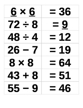 Math Match Card Morning Meeting Greeting