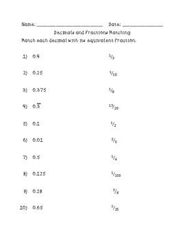 Math Match- Fractions and Decimals