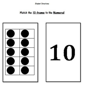 Math Match - Make 10 with Numerals - Memory / Concentration /  Go Fish