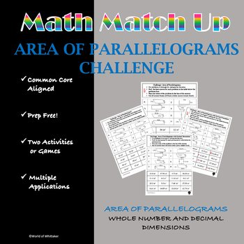 Math Match-Up:  Area of Parallelograms Challenge