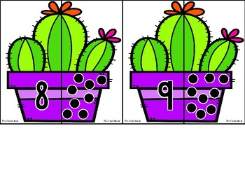 Math Match Up: Cactus Counting to 10