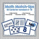 Math Match Up Cards - Winter theme tally marks, ten frames, number words