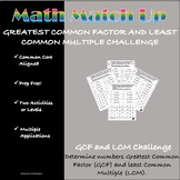 Math Match-Up:  Greatest Common Factor and Least Common Multiple