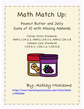 Math Match Up: Peanut Butter & Jelly Sums of 10 with Missing Addends