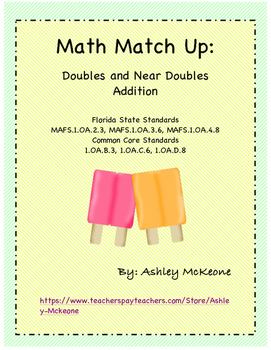 Math Match Up: Popsicles Doubles and Near Doubles Addition