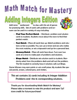 Math Match for Mastery - Integer Addition