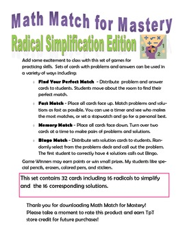 Math Match for Mastery - Radical Simplification Edition