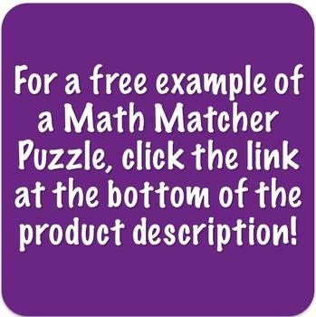 Math Matcher Puzzle - 7th Grade Multi-Pack
