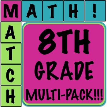 Math Matcher Puzzle - 8th Grade Multi-Pack