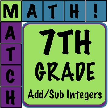 Math Matcher Puzzle - Adding & Subtracting Integers