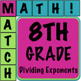 Math Matcher Puzzle - Dividing Exponents