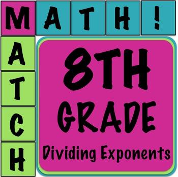 Math Matcher Puzzle - Dividing Exponents