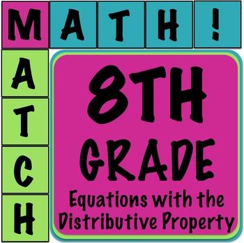 Math Matcher Puzzle - Multi Step Equations (Distributive Property)