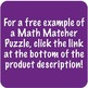 Math Matcher Puzzle - Order of Operations