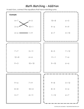 Math Matching - Addition & Subtraction Within 20  - Grades 1 & 2 - CCSS