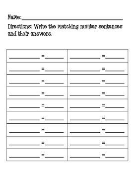 Math Matching Center Games