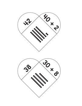 Math Matching Game Tens and Ones Envisions Base Ten Bocks heart math puzzles 1st