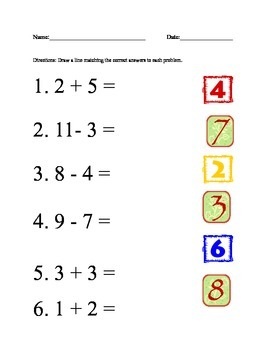 Math Matching Worksheet